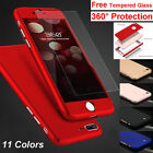 For iPhone 6S 6 7 8 Plus Case Ultra Thin Shockproof Hard Cover + Tempered Glass