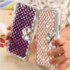 Lovely Lady's Leather Bling Bowknow Diamond Flip Wallet Jeweled Phone Case Cover