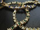 Bracelet Gold Tone with crystals Clear Blue Green 7.25 inches B42