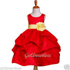 RED BELLE YELLOW PICK UP BABY WEDDING FLOWER GIRL DRESS 6M 12M 18M 2 4 6 8 10 12