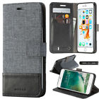 Canvas Leather Magnetic ID Wallet Card Flip Stand Case Cover For Cell Phones