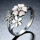 Women Lady 1PC Size 6-9 Lovely Pink Flower Rhinestone Finger Band Ring Hollow