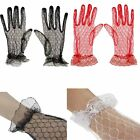 New Sexy Women Lady Floral Brim Sheer Lace Mesh Bride Short Glove Driving Gloves