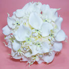 PEARL RHINESTONE WHITE SILK ROSE CALLA LILY WEDDING BRIDAL FLOWER BOUQUET SET