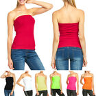 Women's Seamless Tube Top Basic Long Bandeau Layering Ribbed Stretch Tee Onesize
