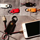 Newest 320mm Leather Key Chain Fordable USB Cable For iPhone IOS Device Charger