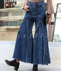 Womens Denim jeans long Big bell-bottom Trousers Pants High-waisted Slim Fit