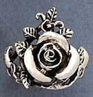 Rose Oxidized Sterling Silver Ring - Sizes 6-9  .925 Pure Silver