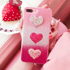 For iPhone 7 6S Plus Cute Bling Glitter Heart Sparkle Silicone Phone Case Cover