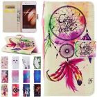Wallet Card Holder Flip PU Leather W/Strap Painted Case Cover For Huawei P10