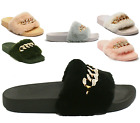 Womens Ladies Chain Faux Fur Comfy Flat Rubber Sliders Sandals Slippers