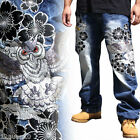 Mens Jeans Japanese Pattern Embroidery Denim Straight Trousers Totem Owl W30-W42