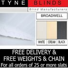 "SLATS FOR VERTICAL BLINDS - 89mm (3.5"") BROADWELL white black cream FROM 99p"