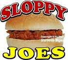 Sloppy Joes DECAL (Choose Your Size)  Food Truck Sign Concession Sticker