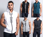 Victorious Men's Lightweight Sleeveless Zipper up Gym Vest Hoodie  SL888-H1A