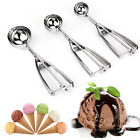 3PCS/Set Ice Cream Spoon Spring Handle Masher Cookie Scoop Stainless Steel
