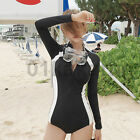 Woman High Collar Swimsuit Long Sleeve Wetsuit Surfing Suit Jumpsuits Sunscreen