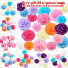 50 Sizes Tissue Paper Pompoms Garland Wedding Party Decor With organza bags Gift