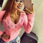Sexy Knitted Sweater Deep V Neck Women Long Neck Stretch Pullovers Tops Jumper