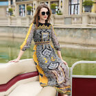 Fashion High-end Chiffon Womens Printed Long Dress Occident O-Neck Retro 2017