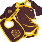 NRL Three Piece Baby Bodysuit - Brisbane Broncos - Rugby League - BNWT