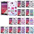TUFF Hybrid TPU Phone Case Cover Protector w Stand For LG Transpyre/F60/Tribute