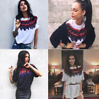 Women Short Sleeve Floral Printed T-Shirt Casual Tunic Loose Summer Tops Blouse