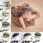 Newborn Baby Boy Peaked Cap Beanie Hat +Bow Tie Outfit Photo Photography Costume