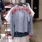 ZARA NEW A/W 2017. NAVY WHITE SHORT FLORAL TOP EMBROIDERED SHIRT. REF 0881/067.