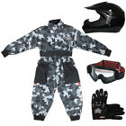 LEOPARD Kids Motocross Helmet ATV Gloves Goggles Youth Race Suit Overalls Black
