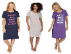 Womens Forever Dreaming Long Slogan T-shirt Cotton Jersey Nightshirt with Motif