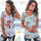 Juniors and women Casual Tops O Neck Hole Ripped T-Shirt Casual Striped Blouse