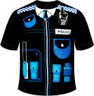 Mens Police Officer Printed T Shirt Top Fancy Dress Easy Costume Stag Do CO