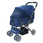 New Pet Stroller 4 Wheels Outdoor Small Dog Cat Carrier Foldable Pushchair Buggy