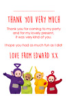 personalised photo paper card party birthday thank you notes TELETUBBIES #1
