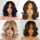 LADIES WOMENS SHORT CURLY WIG BLACK/DARK BROWN, RED, BLONDE MEDIUM BROWN
