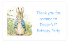 PERSONALISED STICKERS LABELS BABY SHOWER NAMING CEREMONY PETER RABBIT ADDRESS 2