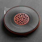 Chinese crude pottery tea tray solid wood base drainage outlet porcelain tea set