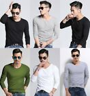 Mens Long Sleeves V Neck Round Neck shirts Slim Fit Casual T-shirt Tee Tops New