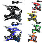 Wulfsport Advance Adult Motocross Helmet MX Off Road + LEOPARD Gloves Goggles
