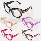Womens Metal Flower Jewel Trim Butterfly Clear Lens Glasses Fashion Thick Style