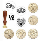 Novelty Brass Head Wooden Handle Flower Wax Seal Stamp Invite Letter Card Decor