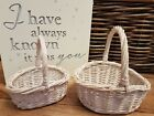 WICKER CHILDS FLOWER GIRL BASKET BRIDESMAID EGG COLLECTION CHILDS GIRLS WHITE