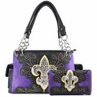 Justin West Fleur De Lis Western Bling Gleam Floral Conceal Carry Handbag Purse