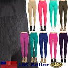 Women Seamless Cable Knit Fleece Slim Footless Stretch Winter Warm Leggings Os