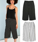 Womens Striped Wide Leg Culottes Flowy Pants Palazzo Beach Flared Trousers 3/4