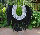 Tribal black long  feather & snail shell necklace boho with or without stand