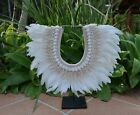 NEW!!! Swan White feather & shell tribal necklace boho with or without stand