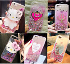 Girl's Cute Mirror Ring Stand Bling Flowing Liquid Glitter Soft Phone Case Cover