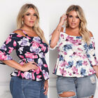 Womens Floral Long Sleeve Cotton Casual Blouse Shirt Tops Fashion T-shirt New